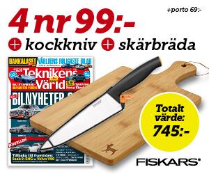 Tidningspremie: 4 nr Teknikens Värld + skärbräda och kockkniv från Fiskars för endast 99:-